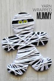 Halloween Decorations For Preschoolers - yarn wrapped mummy craft halloween kids motor activities and yarns