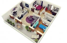 free 3d floor plans 3d house plan with 3 bedrooms house floor plans