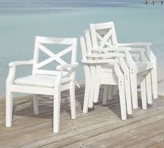 White Wood Outdoor Furniture by Hampstead Stacking Dining Chair White Pottery Barn