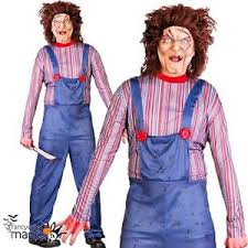 Chucky Halloween Costumes Girls Mens Killer Doll Chucky Halloween Horror 80s 90s Film Fancy Dress