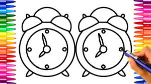 how to draw clock alarm clock drawing and coloring pages kids