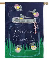 Welcome Flag Mason Jar And Fireflies Welcome Friends Applique House Flag I