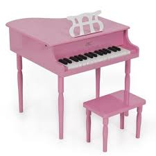 best choice products pink childs wood toy grand piano with bench