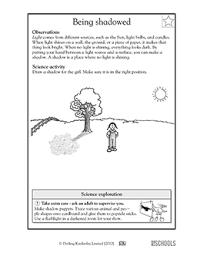 light and shadows lesson plans 1st grade 2nd grade kindergarten science worksheets being