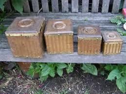 wooden kitchen canister sets vintage square wooden kitchen canister set of 4 ebay