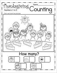free counting worksheets for kindergarten thanksgiving pie