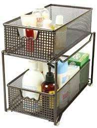 Under Cabinet Sliding Shelves Amazon Com Decobros Two Tier Mesh Sliding Cabinet Basket