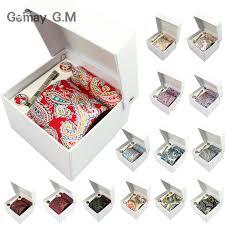 gift box for tie 100 cotton floral men s ties set hanky cufflink tie clip necktie