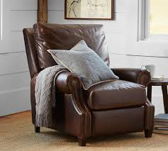Club Armchair Leather James Leather Recliner Pottery Barn