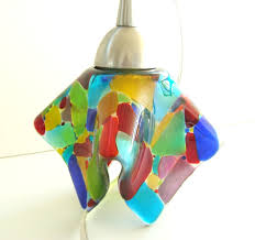 Blue Glass Pendant Light by Mosaic Stained Glass Pendant Light Fixture In Multi Colored