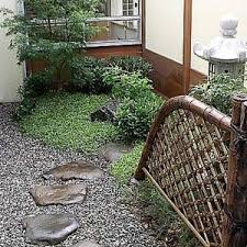 japanese courtyard garden with small japanese ornament japanese