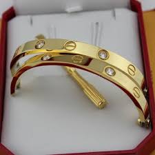 love bracelet gold plated images Replica cartier love bracelet yellow gold plated real with 4 jpg