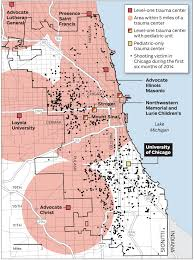 Map Of Chicago Illinois by Map Trauma Centers And Shootings In The Chicago Area Chicago