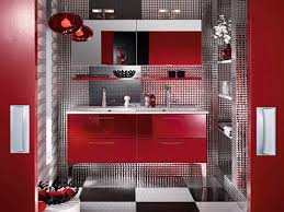 inspiring modern red bathroom decor with red gloss acrylic
