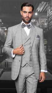 mens light gray 3 piece suit statement wool light gray db vest plaid 3 piece suit tz 906 men s