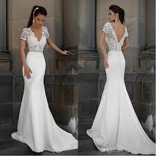 simple wedding dress milla 2018 v neck simple lace mermaid wedding dresses sheer
