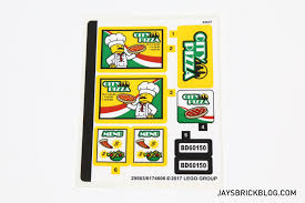 review lego 60150 pizza van here s a look at the sticker sheet for the set they re mostly rectangular shaped and easily applied so i have no real complaints here