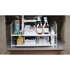 easy home expandable under sink shelf iris expandable under sink organizer the container store