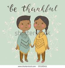 Indian Thanksgiving Indian Boy Together Cute Illustration Stock Vector 331100411