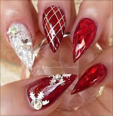 christmas nails red u0026 silver christmas nails acrylic u0026 gel