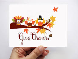 thanksgiving card give thanks adorable autumn owl card