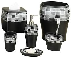 Bathroom Accessories Sets Popular Bath 6 Piece Mosaic Stone Black Resin Bath Accessory Set