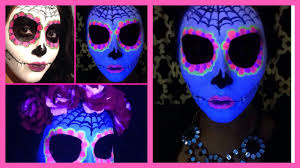 Skeleton Face Paint For Halloween by Sugar Skull Day Of The Dead Makeup Black Light Halloween Glow