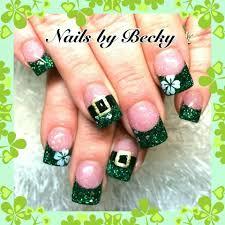 st patricks day holiday acrylic nails pinterest saints nail