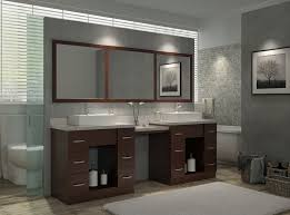 Vessel Sink Vanity Vessel Sink Vanity With Makeup Area Mahogany Transitional Bathroom