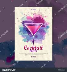 pink martini poster cocktail watercolor paint disco poster stock vector 212565784