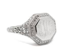 Monogrammed Silver Ring Sterling Silver