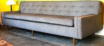 Mid Century Modern Tight Back Tufted Sofa Grey Fabric Sofa Wood - Custom sofa houston