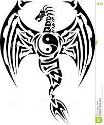 tribal chinese dragon tattoos tribal dragon tattoo with yin yang symbol stock vector image