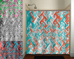 Coral And Turquoise Curtains Aqua Coral Metallic Style Ebru Shower Curtain Fabric