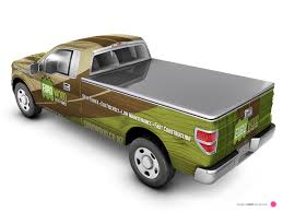 wooden pickup truck euro wood ford ranger vehicle wrap visual back magentadot brands