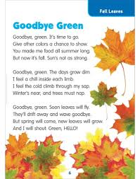 goodbye green fall leaves science poem