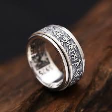 mens spinner rings solid silver 925 rotating spinner rings men tibetan letters
