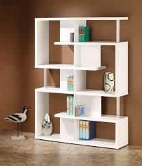 furniture tall white bookshelf with glass doors in the corner of