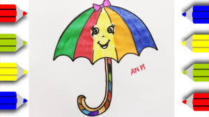draw and coloring cute umbrella coloring page for kids an pi