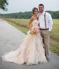 champagne country style designer wedding dress sweetheart