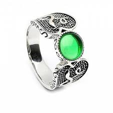 green stone rings images Green stone viking ring oxidized silver jpg