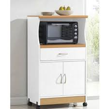 Kitchen Cabinet With Wheels by White Kitchen Utility Cabinet Microwave Cart With Caster Wheels