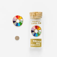 color wheel lapel pin yellow owl workshop