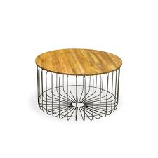 Outdoor Metal Side Table Mango Wood Birdcage Round Industrial Coffee Table Reclaimed Wood