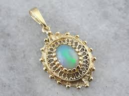 opal necklace vintage images Ethiopian opal and filigree gold vintage pendant vintage opal pendant jpg