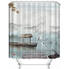 Bird Print Curtain Fabric Amazon Com Orange And Black With Koi Shower Curtain Spa Decor