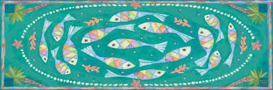 Fish Runner Rug Printed Floor 2x6 Runner Fish And Pearls Design Household Home