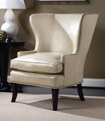 Leather Wingback Chair White Leather Nailhead Trim Chair