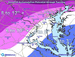 Snowfall Totals Map Preliminary Dc Area Snowfall Accumulation Forecast For March 14th
