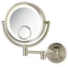 bathroom makeup mirror wall mount light brushed nickel wall mounted lighted makeup mirrors table